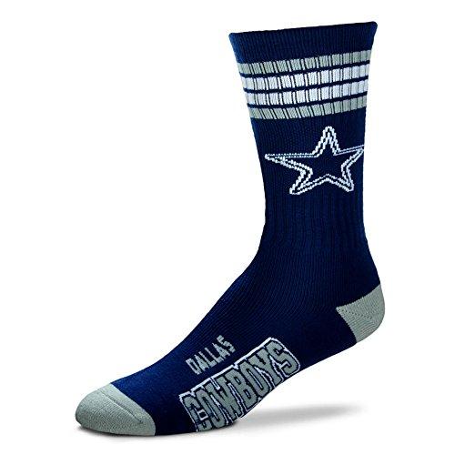 NFL 4 Stripe Deuce Socks - Men's Large (fits 10-13) (Dallas Cowboys) - Fathead Green Bay Packers Helmet