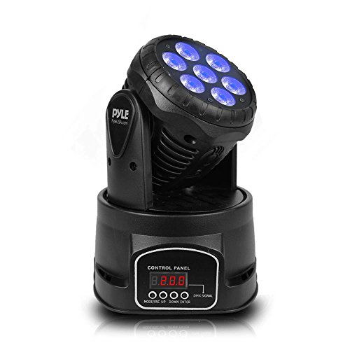 Pyle Rotating Moving Stage Light - for Professional DJ Show Performance or Dance Party with RGB Color LED Projector Bulbs, Flashing Disco Strobe, Beat Sync Motion Effect and DMX Control - PDJLT50
