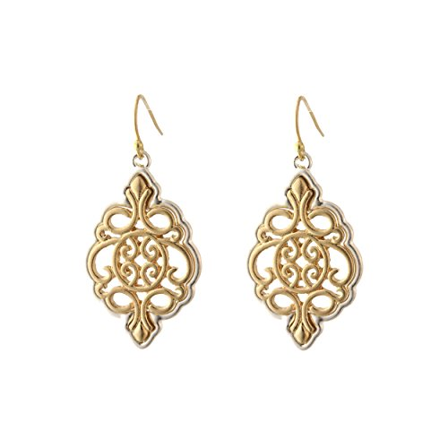 Rosemarie Collections Women's Moroccan Style Two Tone Dangle Earrings (Gold)