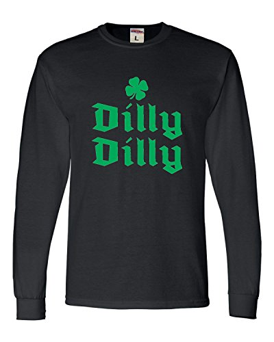 Tee T-shirts Screen Printing - Go All Out Screenprinting XX-Large Black Adult Dilly Dilly Shamrock Long Sleeve Tee