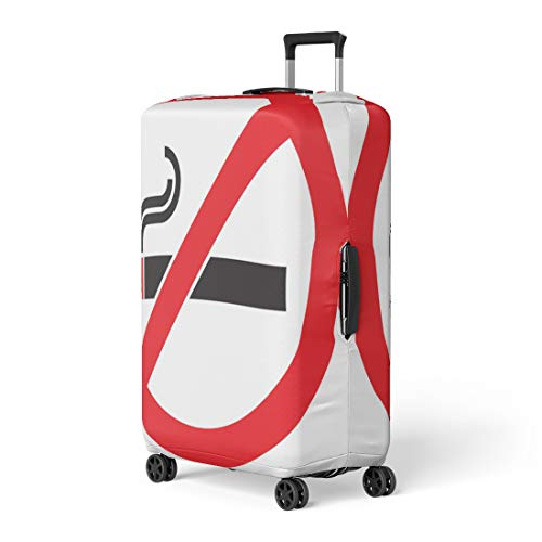 Pinbeam Luggage Cover Red Stop No Smoking Sign Symbol Cigarette Ban Travel Suitcase Cover Protector Baggage Case Fits 18-22 inches