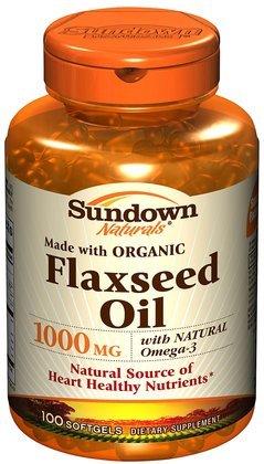 Naturals Sundown Flaxseed Oil, pressée à froid, naturel, 1000 mg, gélules, 100 ct.