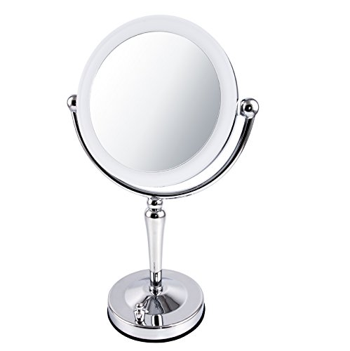 "Ovente 7.5"" Lighted Tabletop Makeup Mirror, Battery or USB Adapter Operated, 1x10x Magnification, Dimmable Cool-Tone LED Light, Nickel Brushed (MKT75CH) Review"