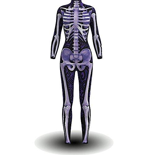 BOMBAX Women Skeleton Halloween Costume Bodysuit Cop Cosplay Jumpsuits and Rompers -