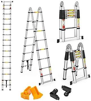 Finether 5M Escalera Telescópica Plegable, Multi-propósito Extensible, Buena Calidad, Mayor Seguridad, 16 Escalones Antideslizantes, 150KG, Aluminio: Amazon.es: Bricolaje y herramientas