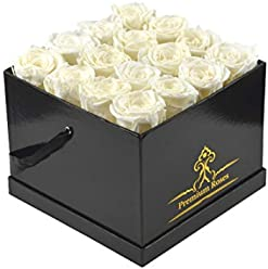 Preserved Real Roses in Box – Fresh Cut Roses That Last 365 Days (Medium, Glossy Black Box Prime)