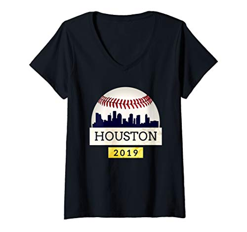 (Womens Houston Baseball Tshirt 2019 Astro Skyline on Giant Ball V-Neck T-Shirt)