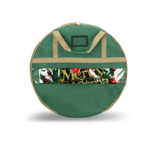 ONWAY Wreath Storage Container Heavy Duty Canvas Wreath Storage Bag for Christmas/Easter/Door/Spring/Winter/Welcome/Valentines Day Wreath with Clear Window and Transparent Card Slot (24 inch Green)