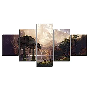 WTTLMAL Painting on Canvas Canvas Paintings Wall Art Hd Prints 5 Pieces Star Wars Robot Dog at-at Pictures Movie Abstract Posters Home Decor Room Framework-20X35 20X45 20X55Cm-Frameless