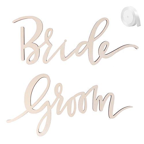 LUOEM 2pcs Bride Groom Wedding Chair Sign Bride and Groom Wedding Chairs Back Hanging for Wedding Party Decorations -