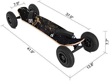 Ukiki Planche à roulettes Tout Terrain Mountainboard 99CM 39IN Skateboard Professionnel avec Fixations Capacité 200KG Skateboard avec 4 Roues 20CM pour la Descente Libre en Croisière Dansante