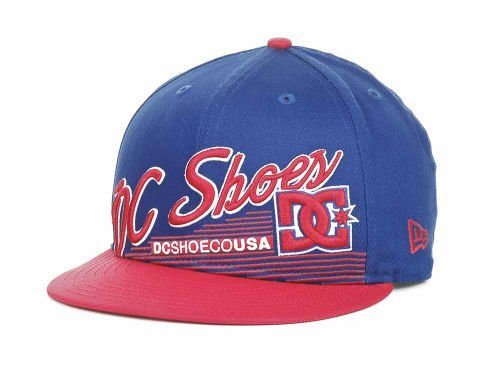 New Era DC Shoes Scripto Flat Brim 9fifty Snapback Hat Cap (Royal Blue/Red)