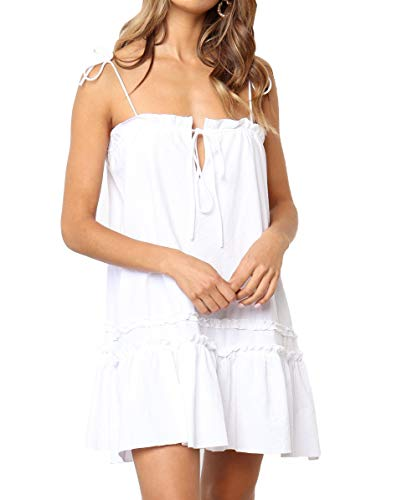 (Huaxiafan Womens Casual Strap A Line Swing Beach Sundress Ruffle Summer Mini Dress White)