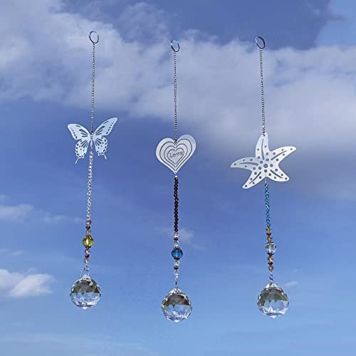 Simunliyg 3 Pcs Crystal Garden Suncatcher Hanging Ornament Rainbow Maker Crystals Ball Prisms Pendant for Christmas Day, Birthday, Plants, Cars, Home, Garden Window Decor
