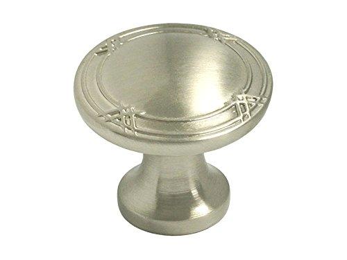 (5 Pack Satin Nickel Kitchen Cabinet Drawer Hardware Ribbon & Reed Round Knobs/Cup Pulls 8863 (Round Knob 33MM))