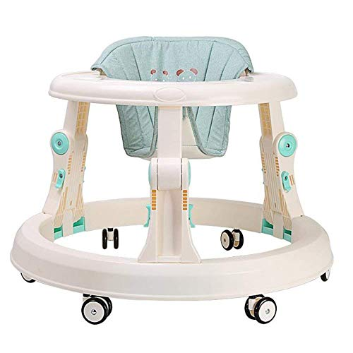 ustable Height Baby Walkers Anti Rollover Learning Walking Toy Car Free Installation (Blue) ()