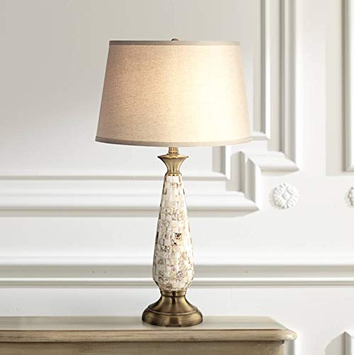 Admirable Berach Coastal Table Lamp Mother Of Pearl Mosaic Tapered Drum Shade For Living Room Family Bedroom Bedside Nightstand Barnes And Ivy Interior Design Ideas Clesiryabchikinfo