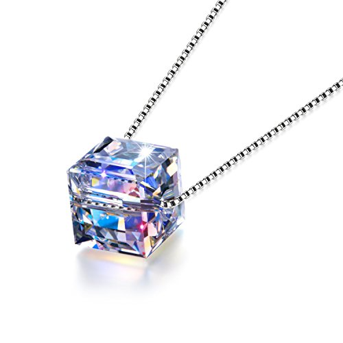 Clear Swarovski Cube Crystal - Akissey 925 Sterling Silver Jewelry, Swarovski Necklace, Color Changing Crystal Cube Pendant, Graduation Gift, Birthday Gifts for Women