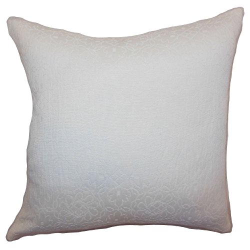 The Pillow Collection Paris Crewel Bedding Sham Snow European/26 x 26