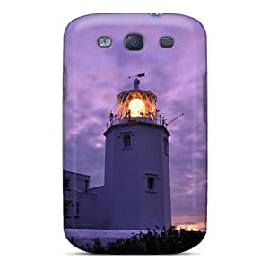 Galaxy S3 Case Slim [ultra Fit] Purple Sunset Lighthouse Protective Case Cover
