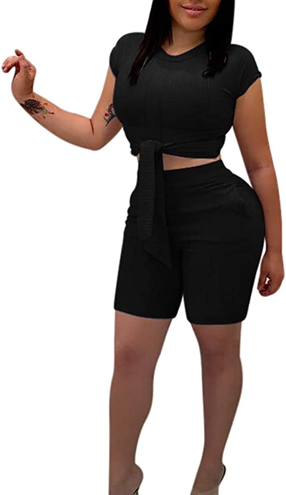 Summer Womens Two Piece Outfits - Cute Tie Front Workout Tops+ High Waisted ShortsPants Set Jumpsuit