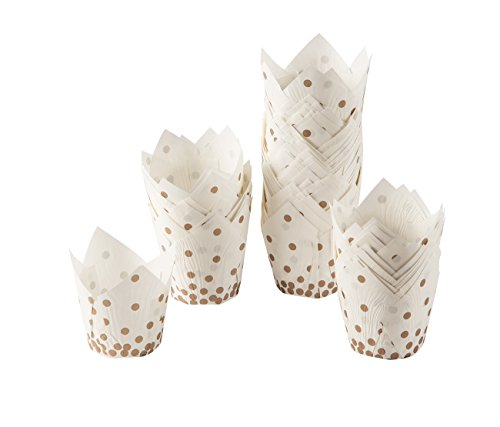Cupcake Liners - 100-Count Tulip Baking Cups Muffin Liners for Kids Birthdays, Weddings, Baby Showers - White with Gold Foil Polka Dots, 3.5 x 3.5 x 2.5 Inches - Candy Dots Paper