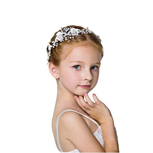 - ROBERT Cute Princess Wedding Headpiece White Flower Headband Pearl Hair Accessories for Girl and Women Bridal Wedding Tiaras for Flower Girl and Bridal.