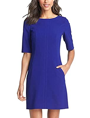 Berydress Women's Short Sleeve with Pockets Seamed Shift Dresses