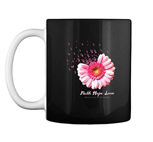 (Faith Hope Love Breast Cancer Awareness Flower Pink Black 11oz Coffee Mug)