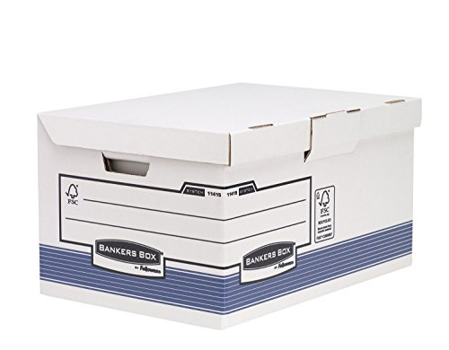- Bankers Box System Hinged Lid Storage Box Maxi (with Almost Betty System, from 100% Recycled Cardboard, 2S-Pack of) White/Blue