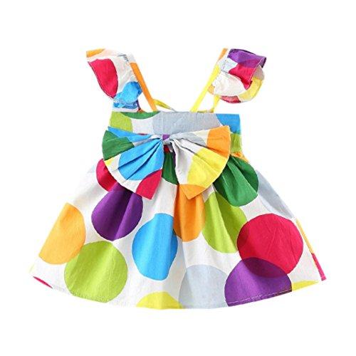 (Summer Girls Dress, Toddler Infant Baby Bowknot Colorful Spot Print Ruffles Sundress (Multicolor, 12 Months))