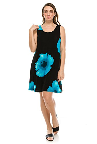Turquoise Slinky - Jostar Stretchy Missy Tank Dress with Print in Flower Design Turquoise Color in X-Large Size