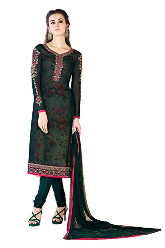 DealSea The Best Engagement Party Wear Lehenga Style Anarkali Green (L)