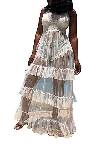 - Women See Through Bodysuit Spaghetti Strap High Waist Gauze Long Maxi Tiered Dress Beach Cover up White
