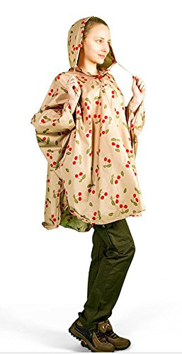 Aircee Lady's Hooded Raincoat Poncho Packable Batwing Sleeve Cherry Design 55'' X 49'' - Cherry Jacket Womens