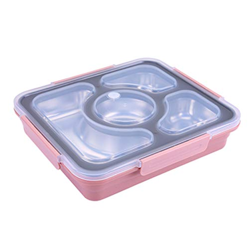 (Sumerflos Bento Box Stainless Steel, Leak-Proof Lunch Box Containers, 4 Compartments Portion Control Food Containers for Kids, On-the-Go Meal and Snack (Pink))