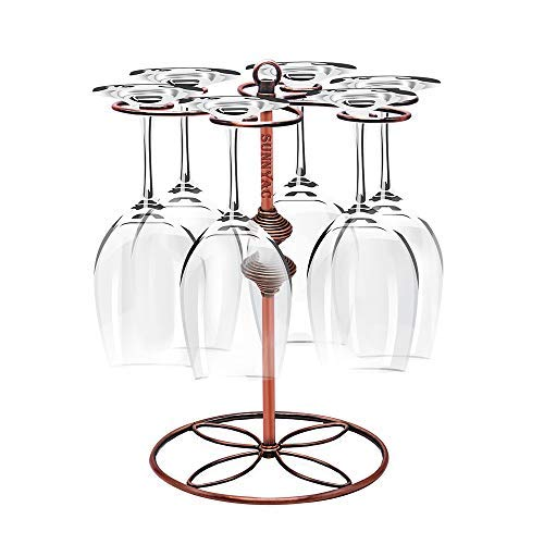 Sunnyac Scrollwork Bronze Wine Glass Rack, Elegant Freestanding Stemware Holder Stand with 6 Hooks, for Home and Bar Storage and Artistic Tabletop Display, Gourd-style (Type3)