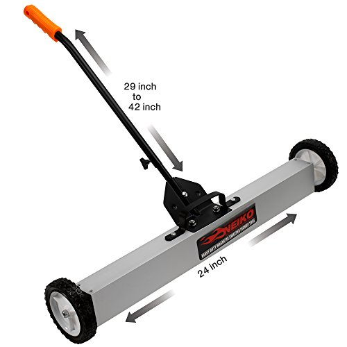 Neiko 53416A 24-Inch Magnetic Pick-Up Sweeper with Wheels | 30-LBS Capacity