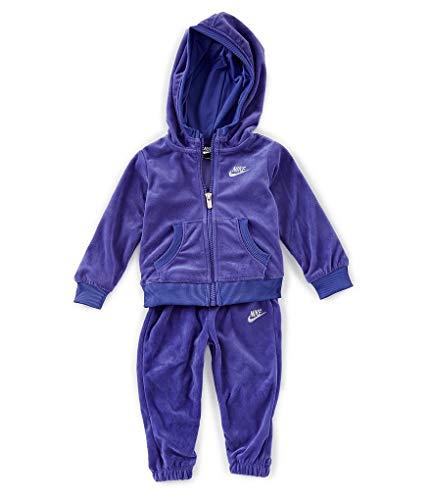 Nike Little Girls Velour Hoodie & Jogger Set (Rush Violet(16D672-P4E)/Silver, 12 Months)