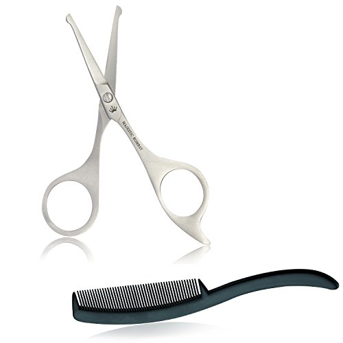 Mustache & Beard Grooming Scissors Trimming Kit – Safety Scissors With Mini Comb for the Perfect Facial Hair Trimming – Safety Round Tips For Your Eyebrows, Beards and Mustache
