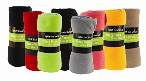 Super Soft Cozy Fleece Throw Blanket - 50x60 Fleece Blanket (Assorted Colors)