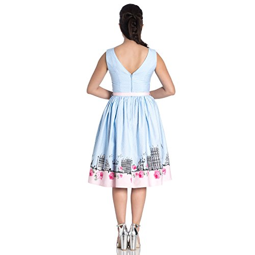 Retro Klassisches Bunny Eiffelturm Babyblau Hell 1950s Paname Paris Kleid Glockiges Yxq7wxfS6