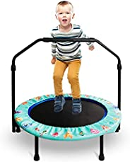 36-Inch Trampoline for Kids Mini Trampoline with Adjustable Handle and Safety Padded Cover Foldable Toddler Tr