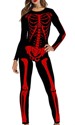 Halloween Costume Women Streth X-ray Outfit Jumpsuit Long Sleeve Bodycon Skeleton Catsuit RED S ()