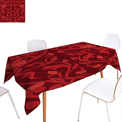 - longbuyer Circular Table Cover Red Floral Pattern Rectangle/Oblong W 70