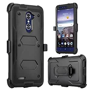 ZTE Blade X Max Case, Zmax Pro Case, Grand X Max 2 Case, ZTE Max Duo LTE Case, SOGA Shockproof Rugged Hybrid Armor Case Cover w/ Belt Clip Holster & Built-in Screen Protector for ZTE Carry - Black
