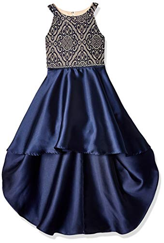 Speechless Big Girls Party Dress with Dramatic High-Low Hemline, Navy, 7