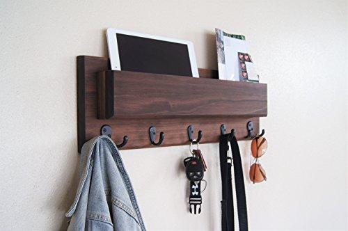 Midnight Woodworks Original Entryway Organizer Coat and Key Rack with Mail Storage Pocket