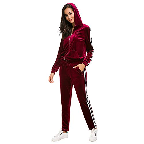 Red Velour Outfit - Unifizz Women's 2 Pieces Velour Sweatsuit Outfit Set Long Sleeve Hoodie Top and Jogger Pants Sport Tracksuits Wine Red XL