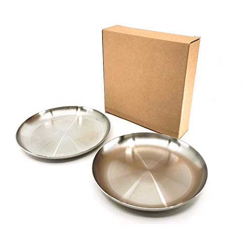 The Elixir Eco Green Premium STS 304 Stainless Steel 10.25 Inch Round Dinner Plate Set, Thali Shallow Dinner Plates Baby Toddler Safe Plate No BPA, Set of 2 (Stainless Steel Thali Set)
